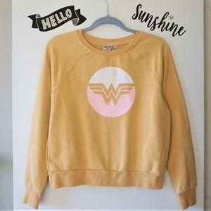 Wonder Woman Mustard Yellow Graphic Sweatshirt S